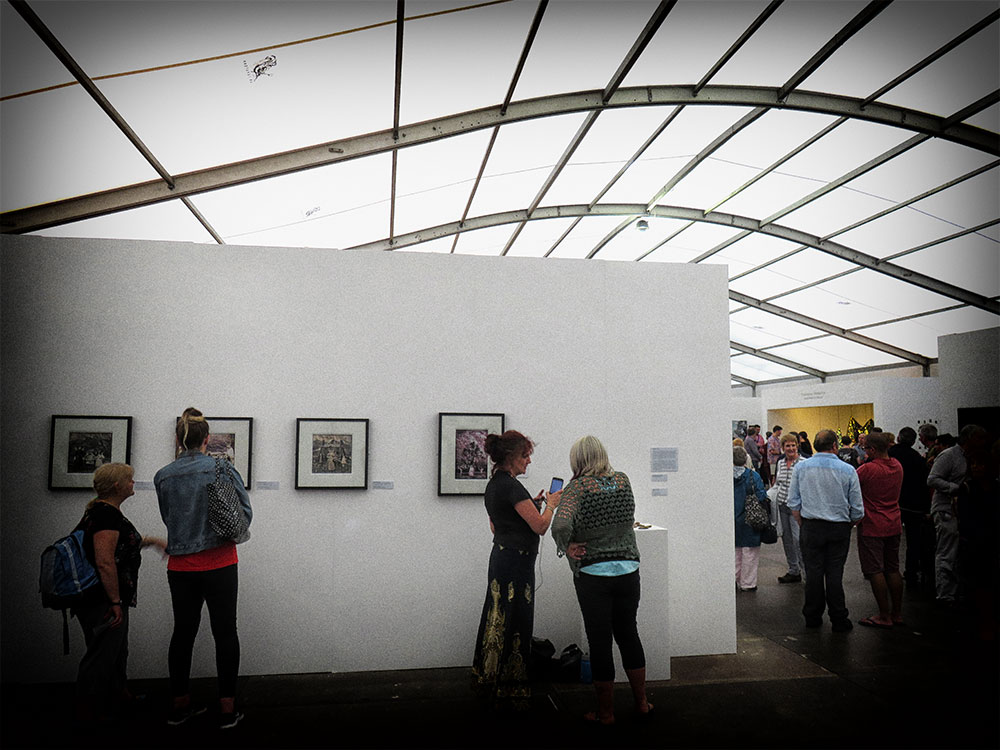 People viewing my work at Y Lle Celf 2019